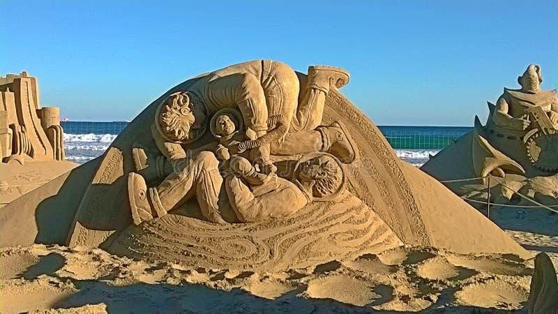 在沙子的雕塑 免版税图库摄影
