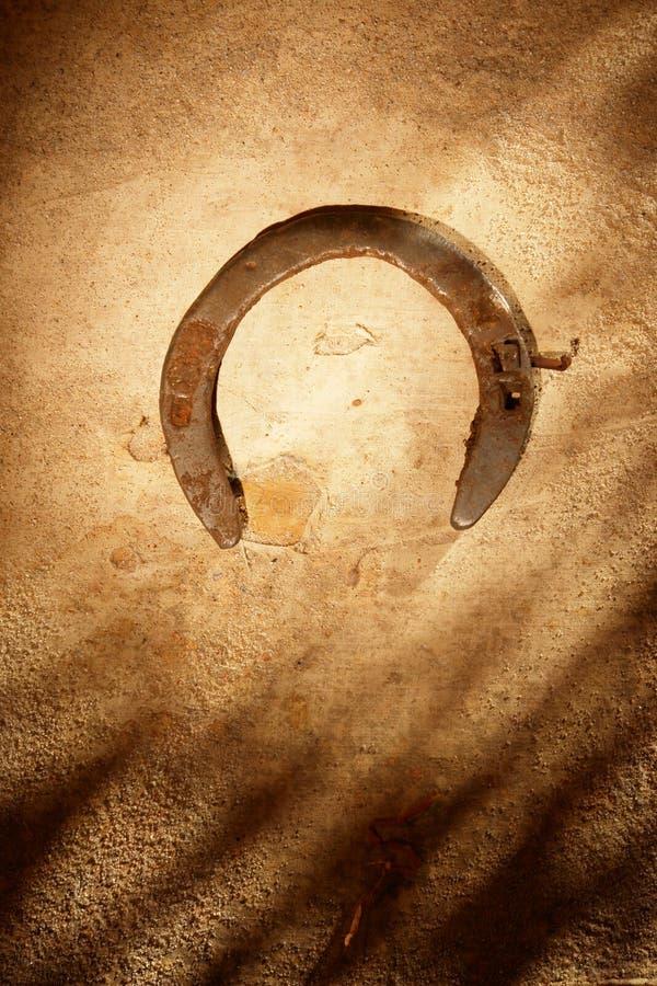 在沙子的马掌 库存照片