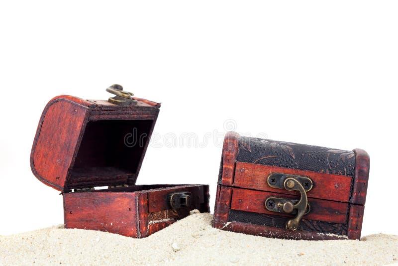 在沙子被隔绝的白色背景的珍宝箱子 免版税库存照片