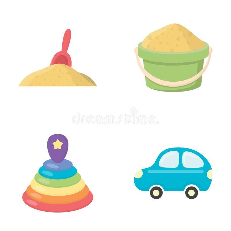 在沙子,有沙子的一个绿色桶,一座多彩多姿的金字塔,一辆蓝色玩具汽车的一个红色瓢 玩具持续汇集象  皇族释放例证