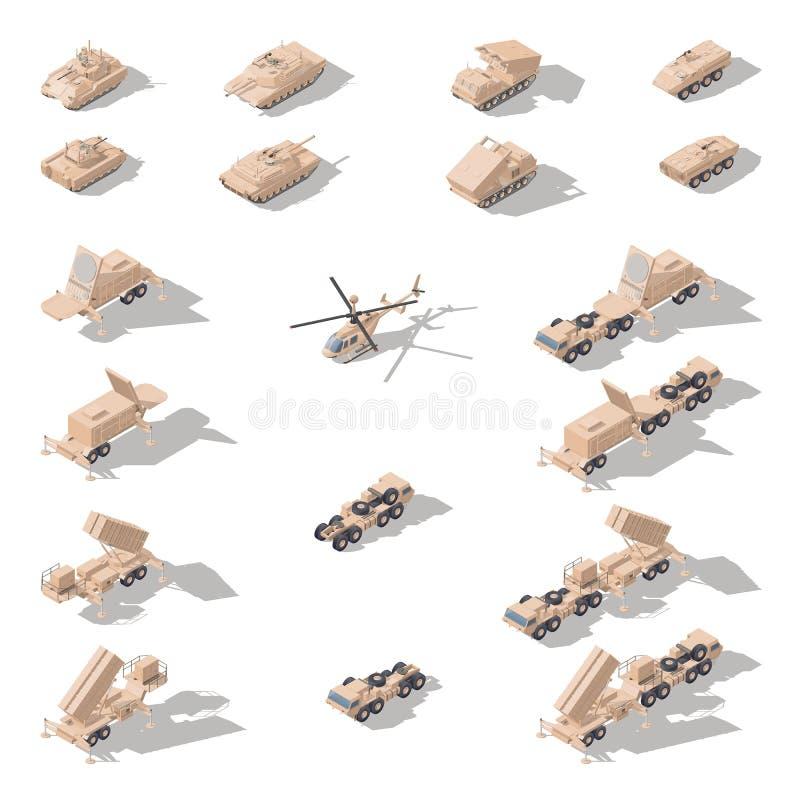 在沙漠伪装等量象集合的现代军用设备 皇族释放例证