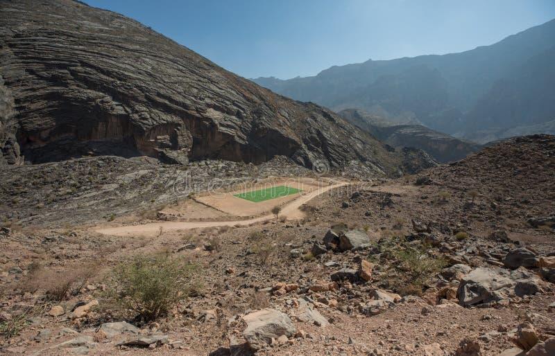 在沙漠山中间的绿色橄榄球场 免版税库存照片