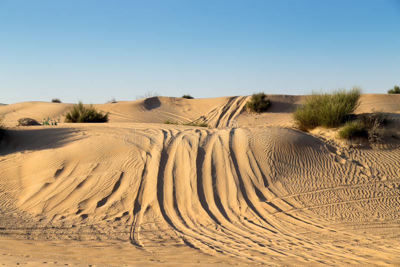 在沙漠徒步旅行队的汽车集会 免版税库存图片