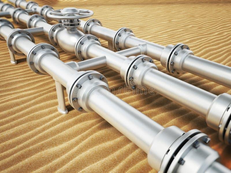 在沙漠沙子的输油管 3d例证 皇族释放例证