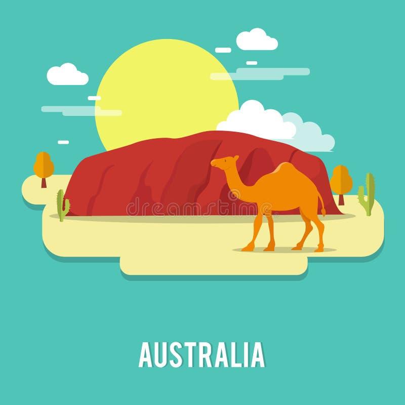 在沙漠澳大利亚例证de的一个骆驼petient生物