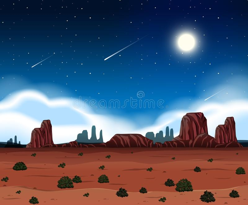 在沙漠的夜 向量例证