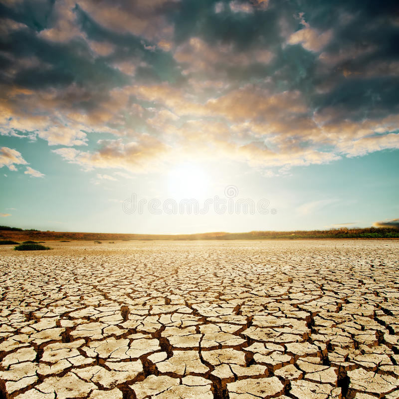 在沙漠的好日落 免版税库存照片