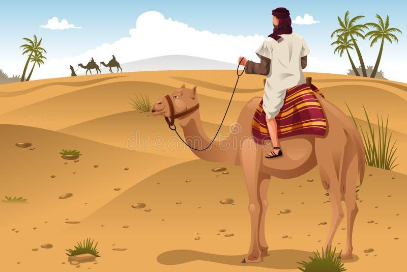 在沙漠的阿拉伯骑马骆驼 向量例证