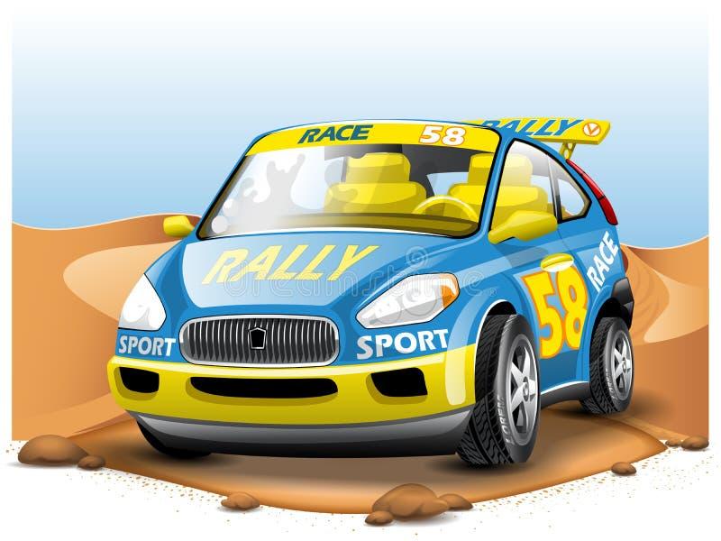 在沙漠背景的蓝色赛车 在动画片样式 皇族释放例证