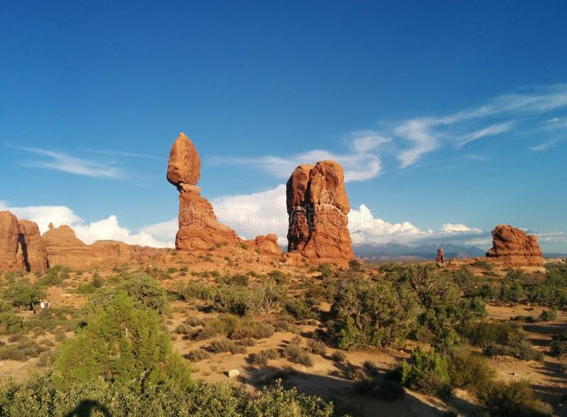 在沙漠风景的岩层在拱门国家公园 免版税图库摄影