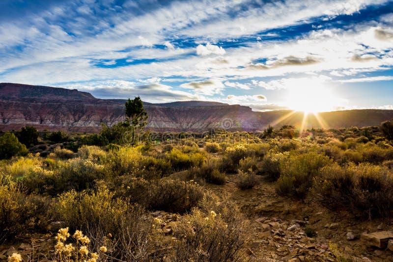在沙漠高原的冬天日出 库存照片