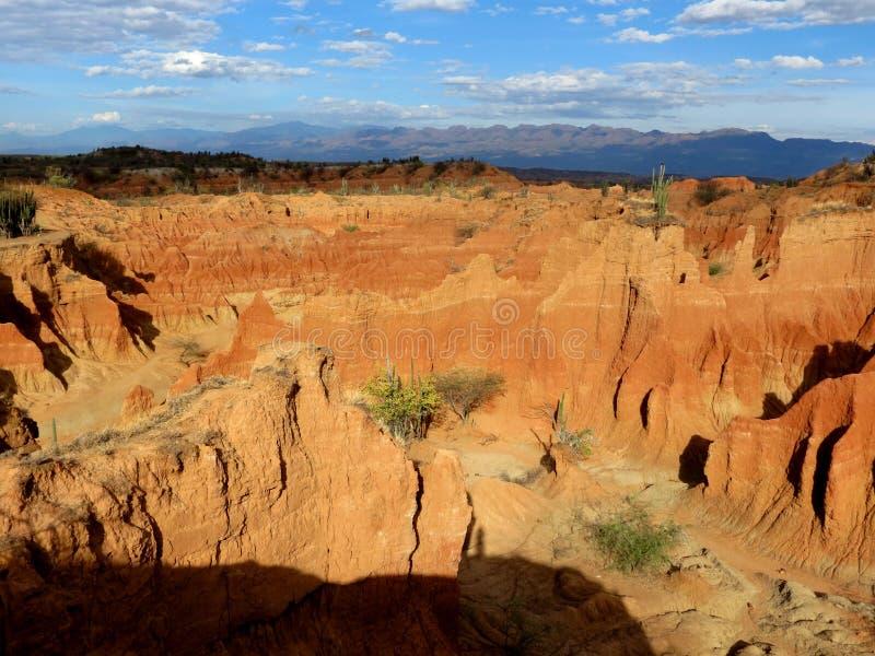 在沙漠Tatacoa的五颜六色的岩石 库存照片
