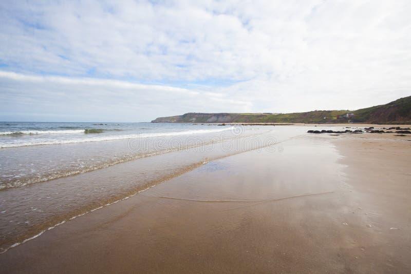 在沙滩海景的碎波 免版税库存照片
