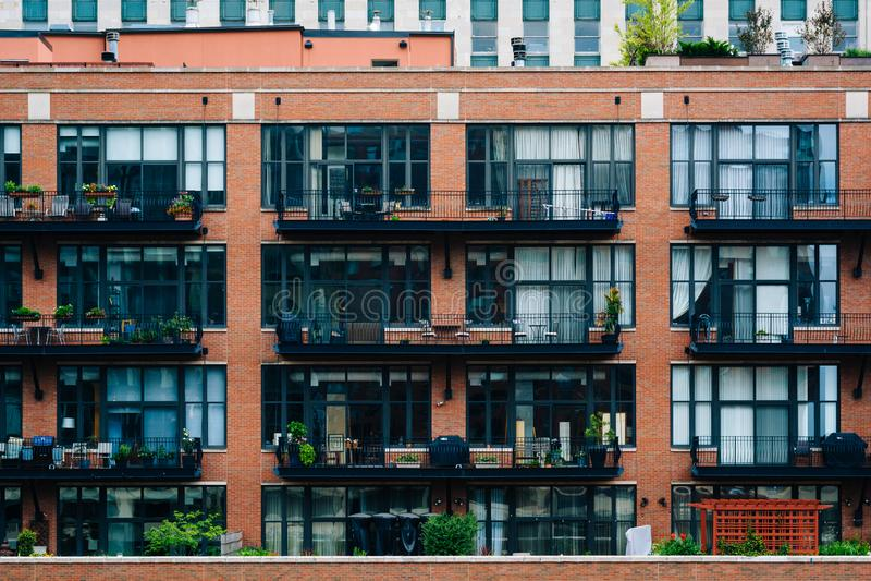 在河北部,芝加哥,伊利诺伊的居民住房 库存图片