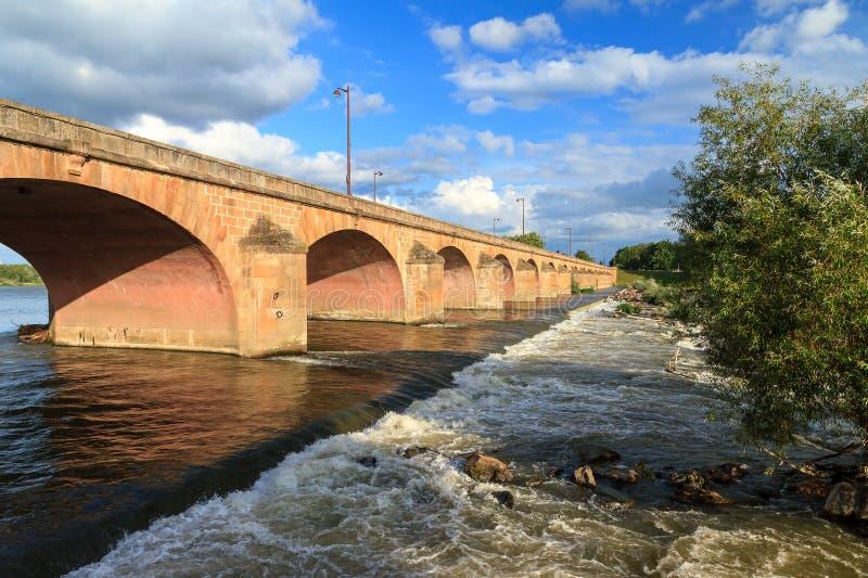 在河卢瓦尔河的桥梁在讷韦尔 免版税库存照片