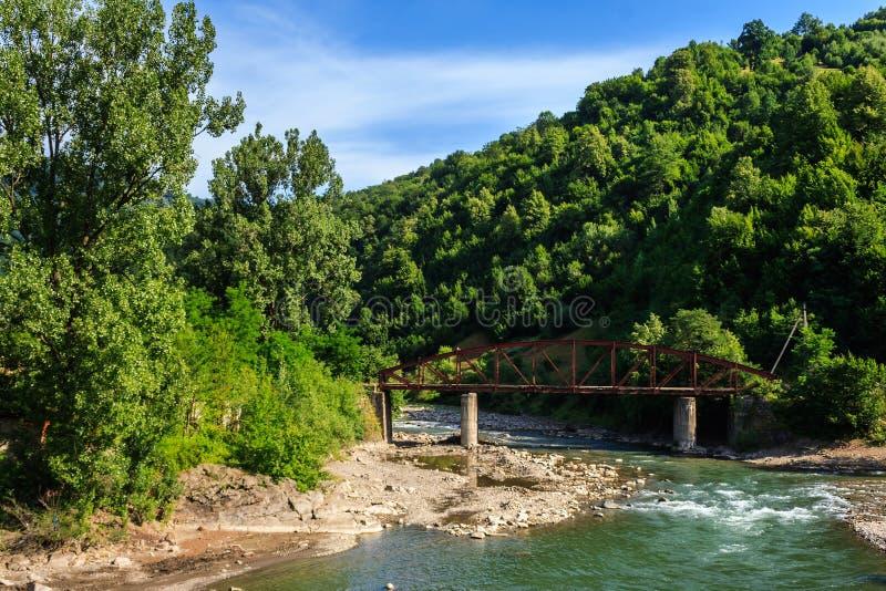 在河叉子的老金属桥梁 免版税库存图片