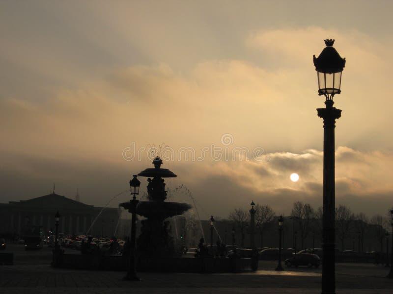 在河塞纳河的日落在巴黎 库存照片