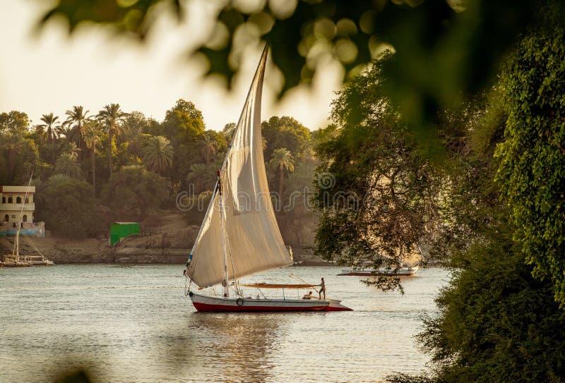 在河尼罗的传统Felluca小船在日落的卢克索埃及 库存照片