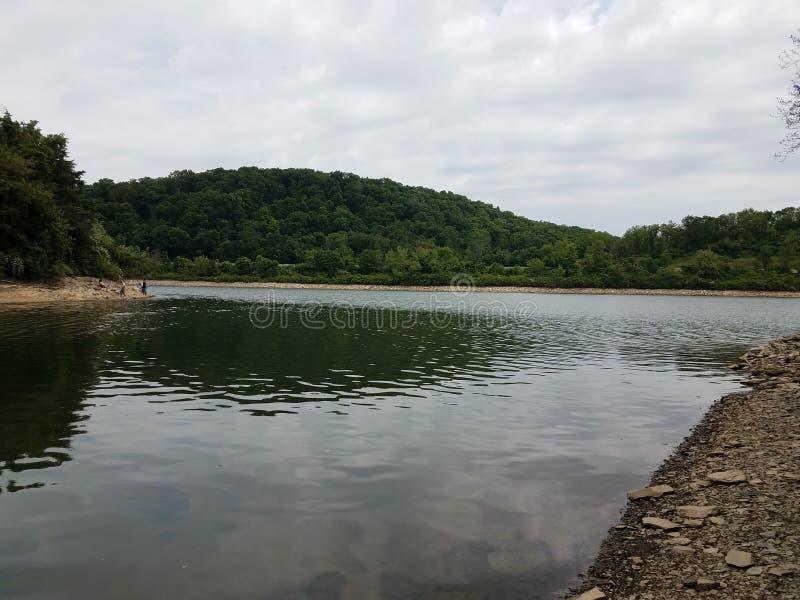 在河岸的灰色破旧或被风化的岩石与树 免版税库存照片