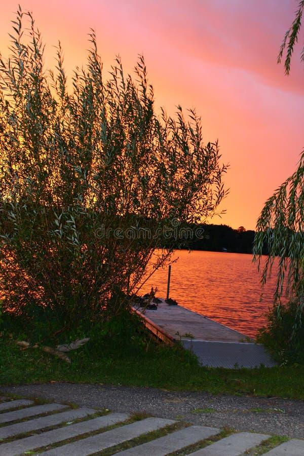 在河弯的日落 免版税图库摄影