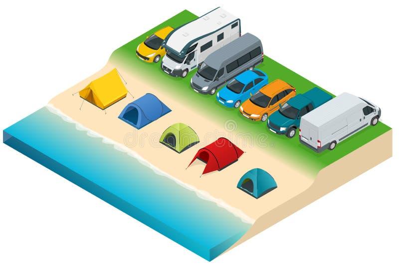 在河或湖附近的夏天野营和帐篷 平的3d传染媒介等量例证 假期和假日概念 向量例证