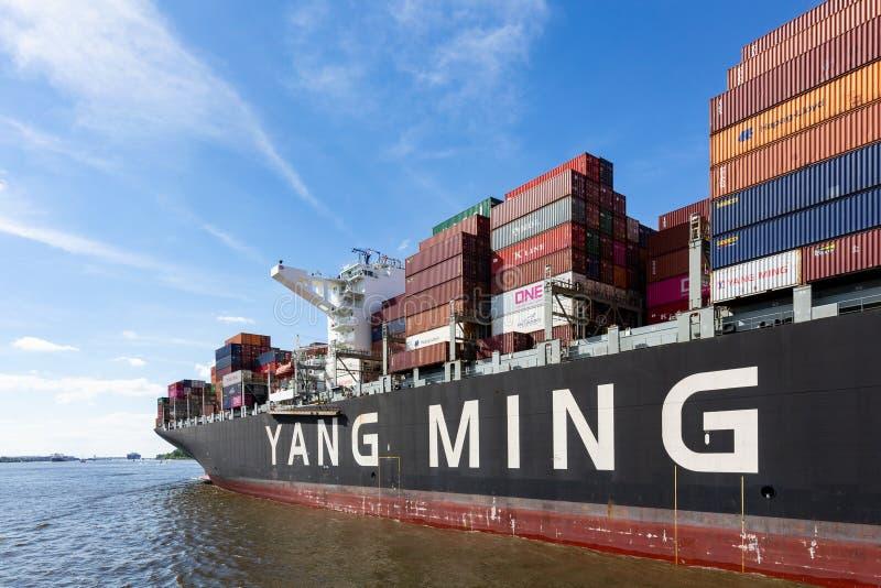 在河易北河的集装箱船杨明在汉堡,德国 免版税库存图片