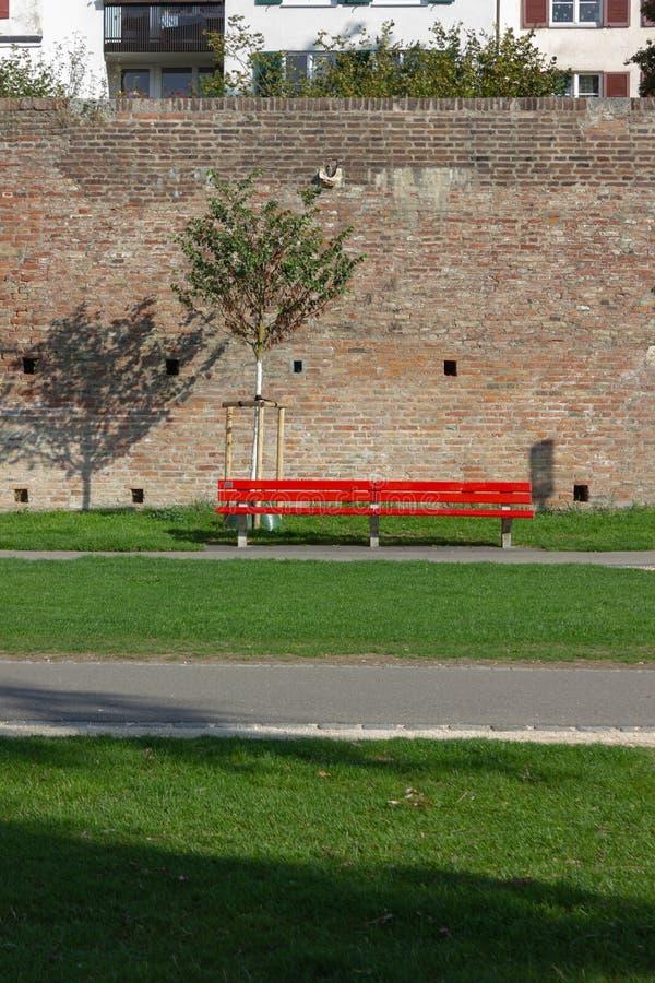 在河沿城市公园的红色长凳 免版税库存图片