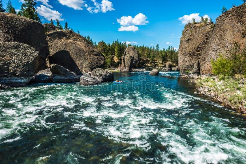 在河沿碗和投手国家公园在斯波肯华盛顿 免版税库存照片