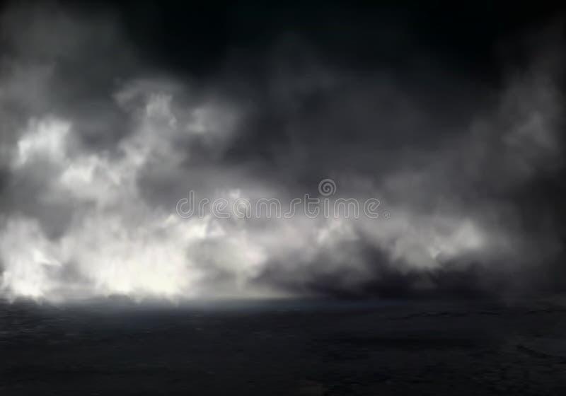 在河现实传染媒介的厚实的夜雾 皇族释放例证