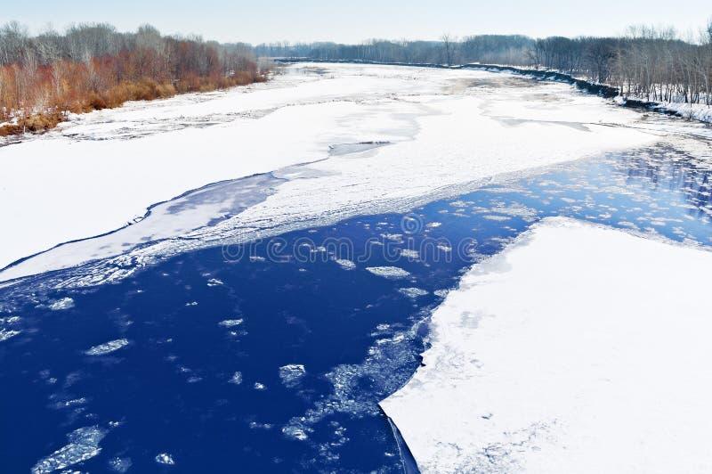 在河的冰偏差 库存照片