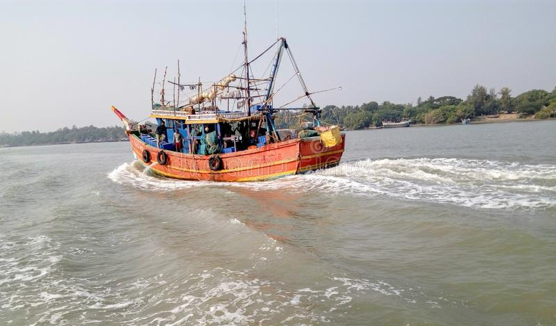 在河的小船在美洲红树区域 免版税图库摄影
