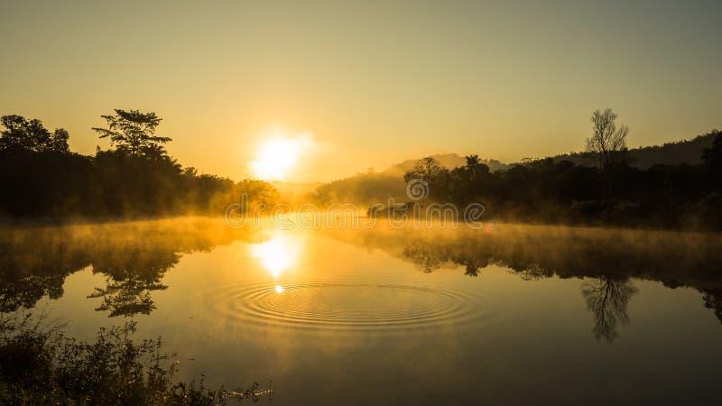 在河的日出有有薄雾的 免版税图库摄影