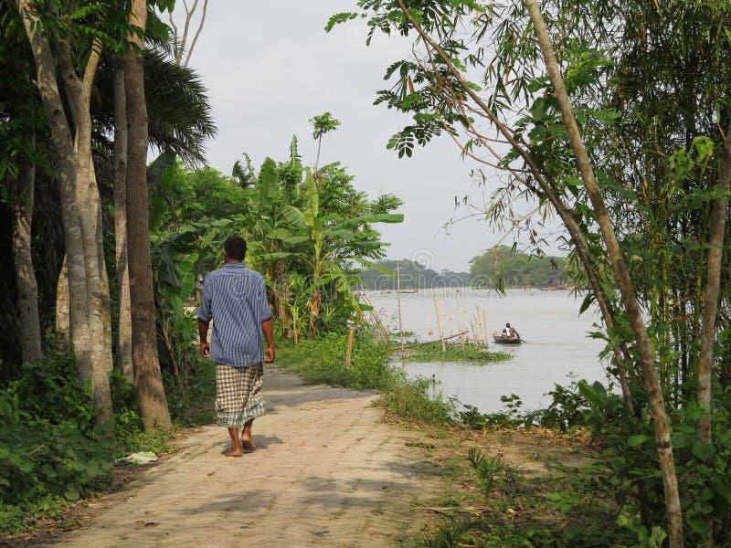 在河的日常生活, Barishal,孟加拉国 库存照片