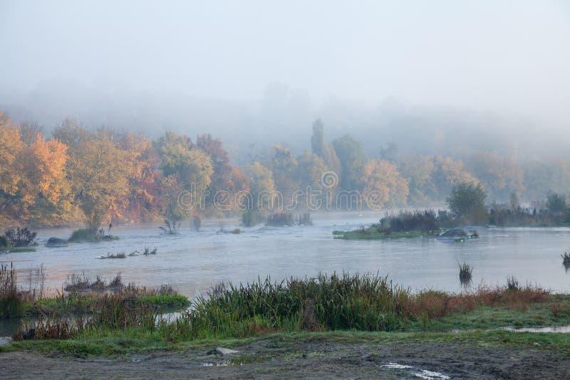 在河的有薄雾的早晨 库存照片