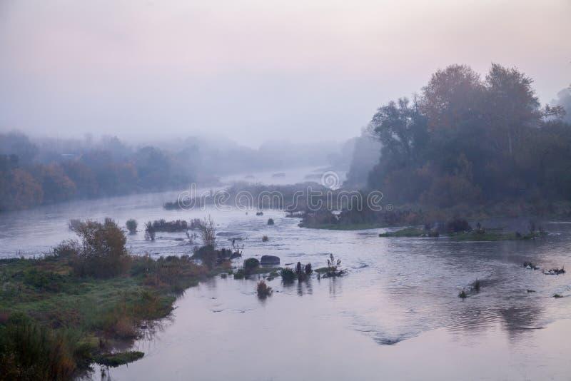 在河的有薄雾的早晨 库存图片