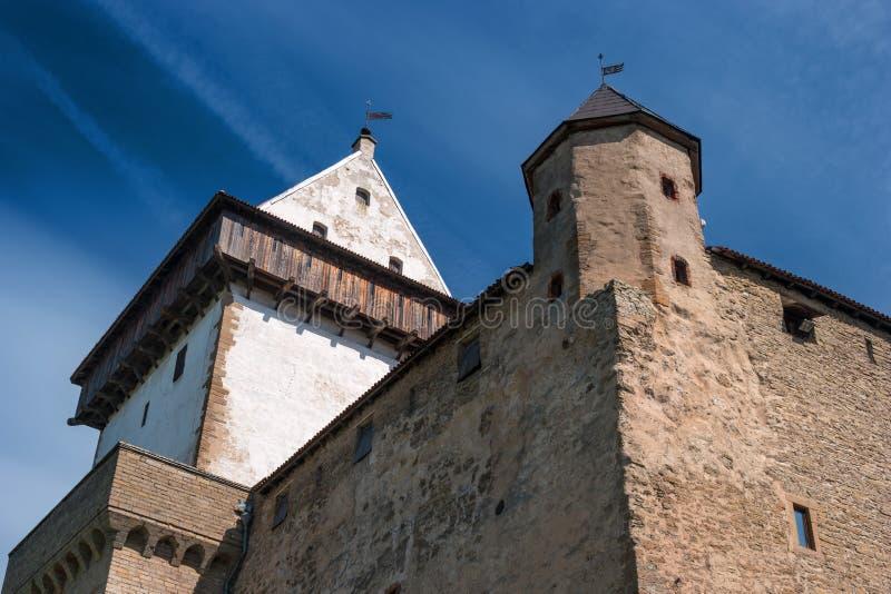 在河的河岸的纳尔瓦,爱沙尼亚-埃尔曼城堡,在Ivangorod堡垒对面 特写镜头 库存照片
