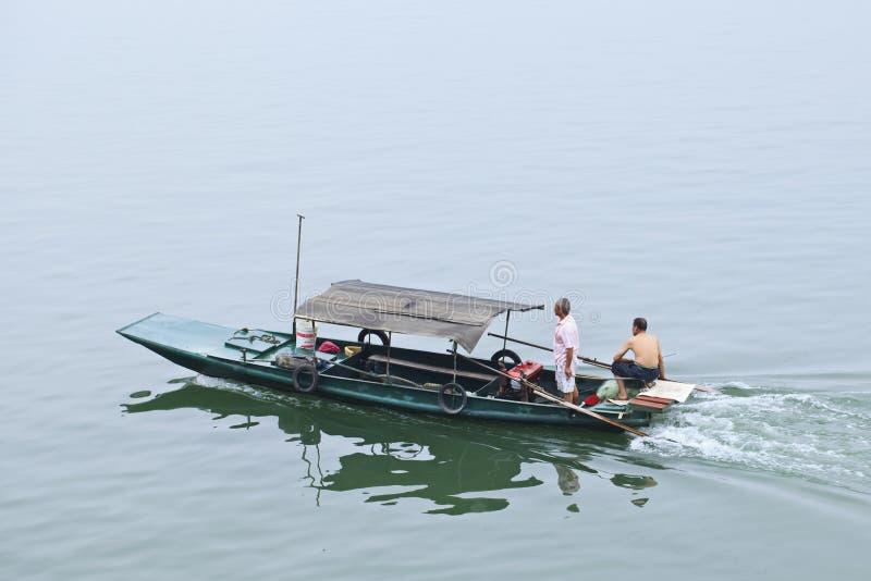 在河的渔船,锡昂队杨,中国 免版税库存照片