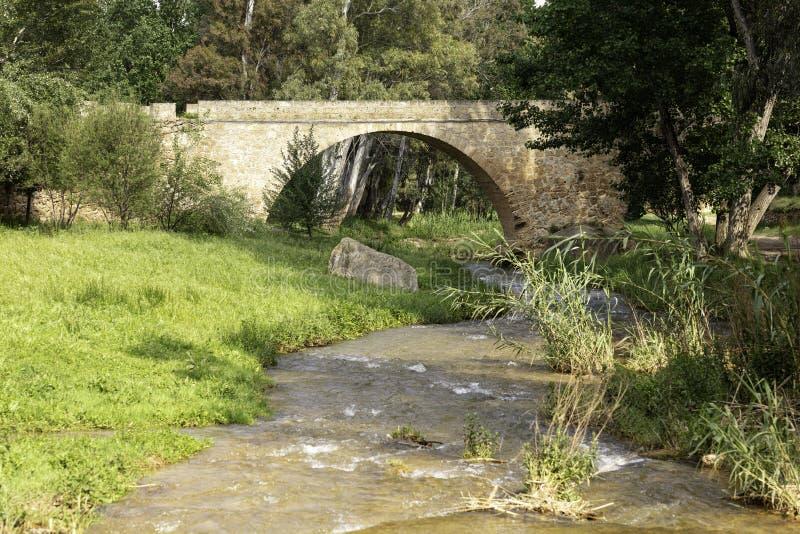 在河的石桥梁 免版税库存照片