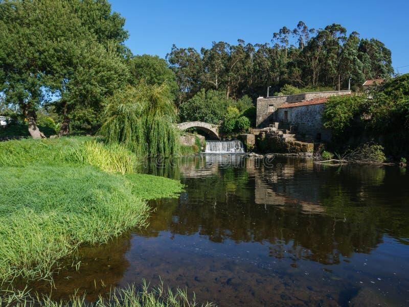 在河的美好的夏天场面有老罗马石桥梁和柳树的 库存照片