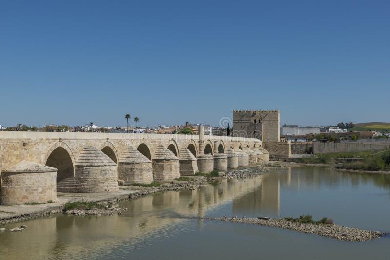 在河的老桥梁在科多巴 免版税图库摄影