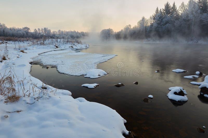 在河的雪块 免版税库存图片