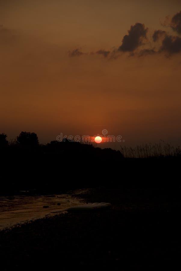 在河莱茵河的日落 免版税库存照片