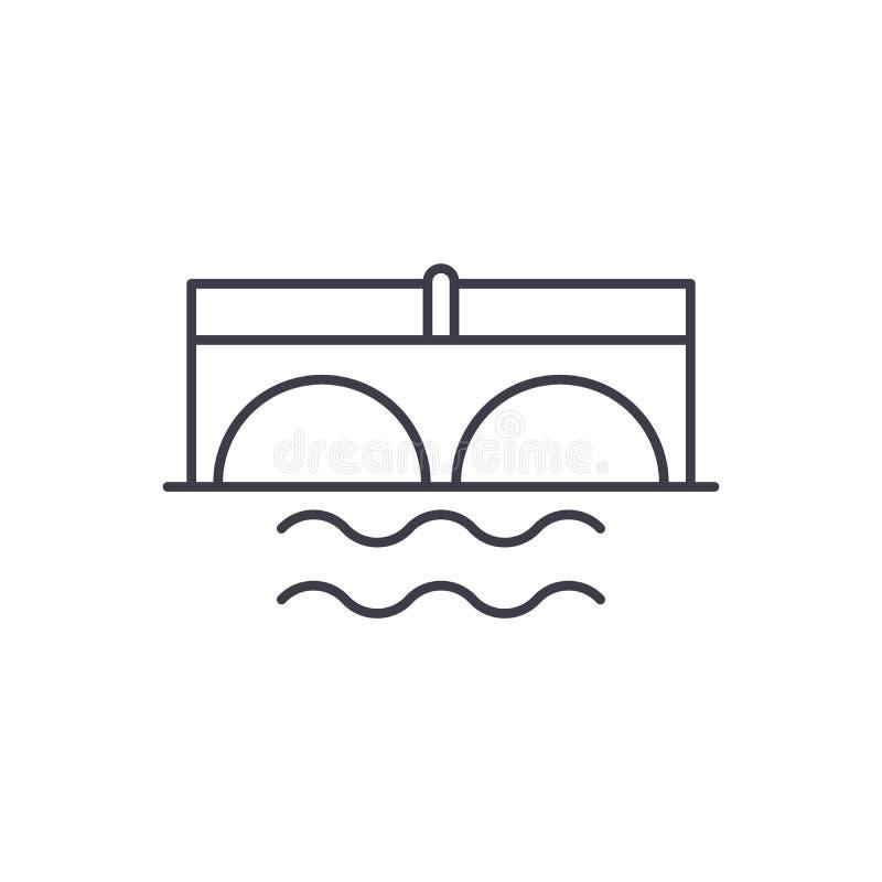 在河道线路象概念的桥梁 在河传染媒介线性例证,标志,标志的桥梁 库存例证