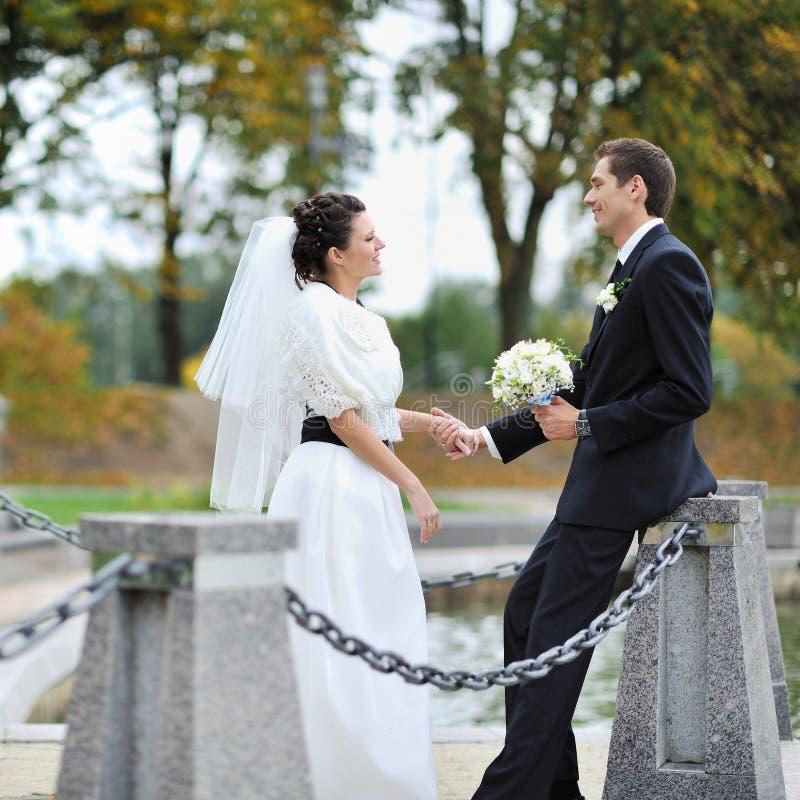 在河附近的婚礼夫妇 免版税库存图片