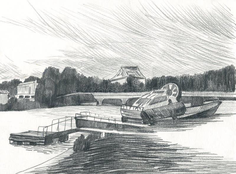 在河,城市堤防,drawingng的小船 库存例证