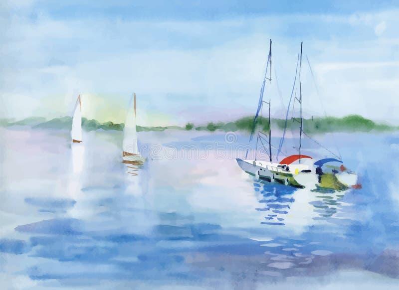 在河水传染媒介例证的水彩小船 免版税库存图片