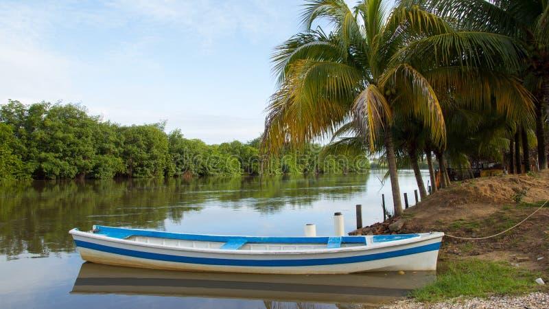 在河` s边缘的小船 蓝色和白色油漆 免版税库存照片
