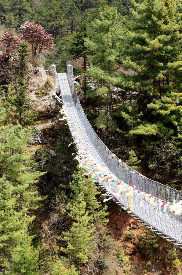 在河Dudh Kosi的吊桥在东尼泊尔,珠穆琅玛 库存图片