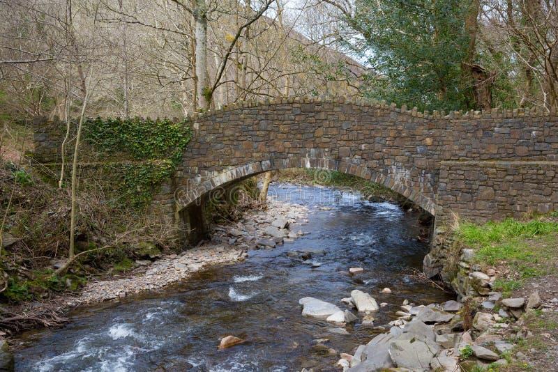 在河Heddon Exmoor德文郡英国的桥梁 库存照片