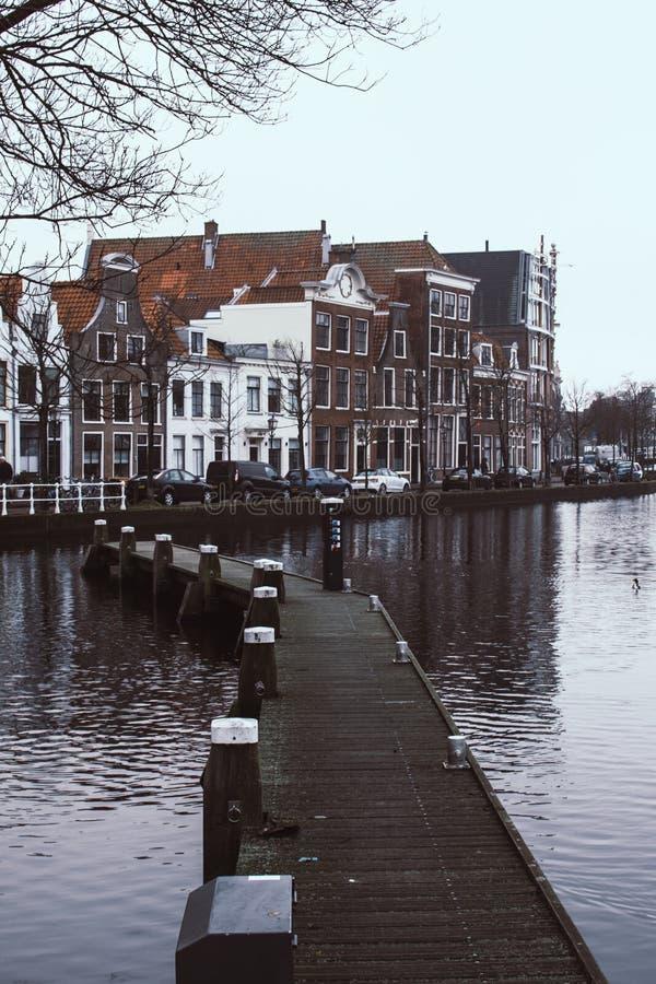在河Spaarne水的狭窄的木桥在哈莱姆,荷兰 背景的传统荷兰房子 库存照片